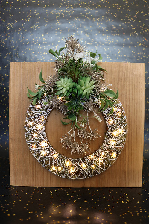 Wreath String Art With Faux Succulents Wall Hanging