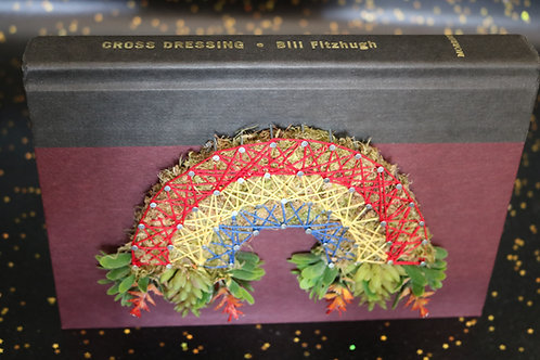 Rainbow String Art On Discarded Book