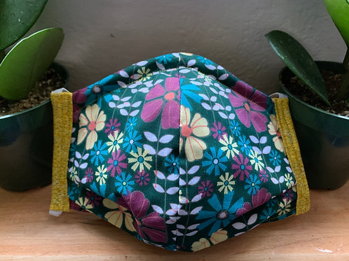 Adult XL Teal Flower Mask