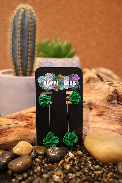 Green Polymer Clay Earrings with Dangle Extension