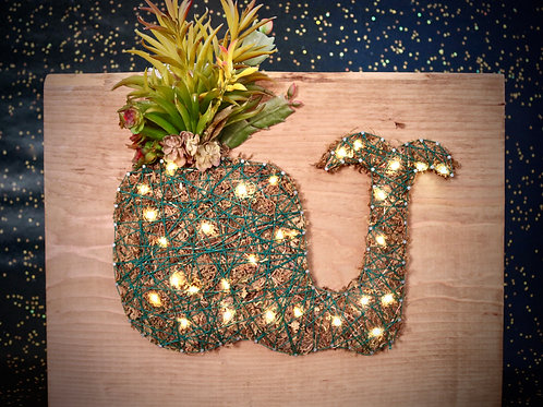 Whale String Art With Faux Succulents Wall Hanging