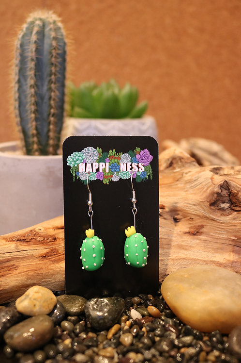 Green Polymer Clay Cactus Earrings