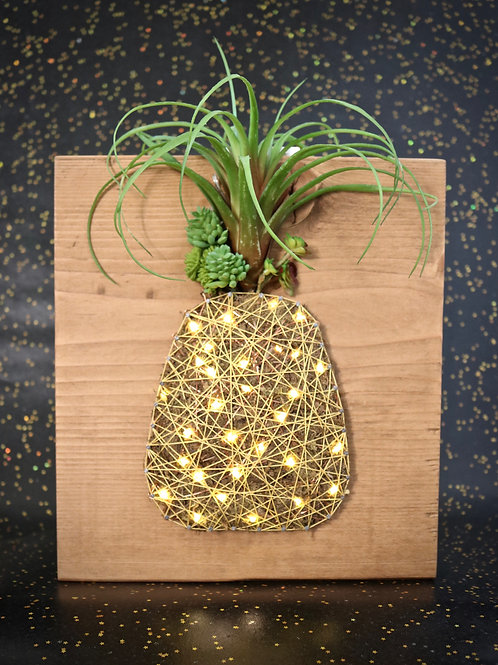 Pineapple String Art With Faux Succulents Wall Hanging