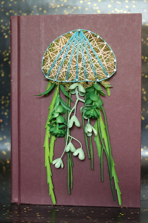 Jellyfish String Art On Discarded Book