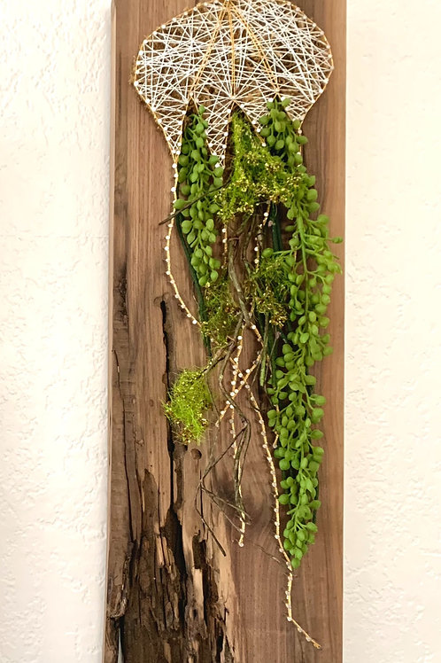 Amakusa Jellyfish String Art With Faux Succulents Wall Hanging