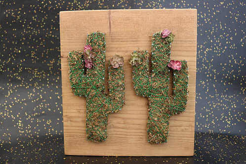 Saguaro Cactus String Art With Faux Succulents Wall Hanging