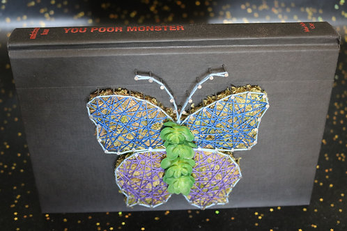 Butterfly String Art On Discarded Book