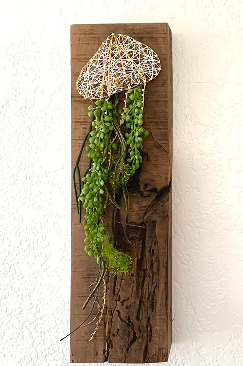Long Bell Jellyfish String Art With Faux Succulents Wall Hanging