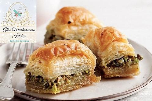 Handmade Mediterranean Baklava with pistachios- One pound