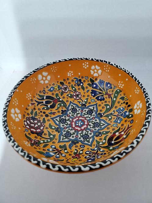 Handmade Turkish Ceramic Bowls with Unique Floral Design-ORANGE- 12 cm/4.7