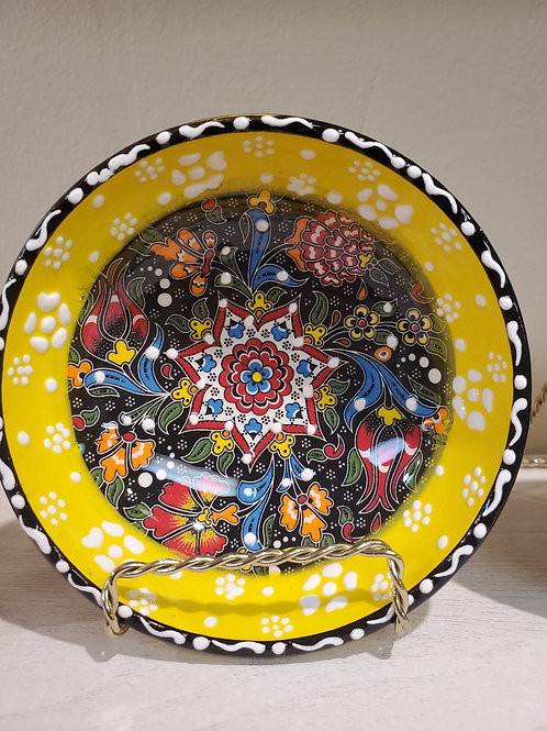 Handmade Turkish Ceramic Bowls with Unique Floral Design-YELLOW- 12 cm/4