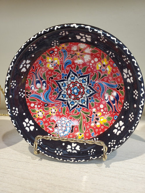 Handmade Turkish Ceramic Bowls with Unique Floral Design-BLACK- 12 cm/4