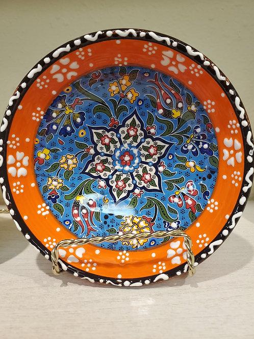 "Four Handmade Ceramic Bowls with Unique Turkish Flower Motifs- 12 cm/4.7"""