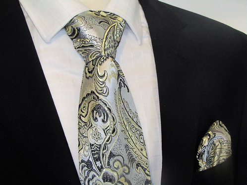 Silver Paisley 2 piece Bow-tie set