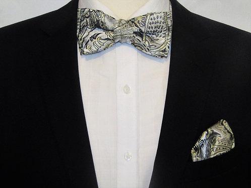 Silver Paisley 2 piece Bow-tie Set