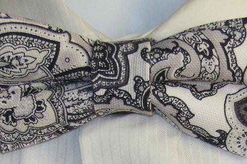 Black & Grey Paisley Bow Tie