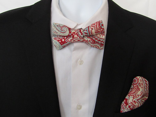 Red Paisley  2 Piece Bow Tie Set