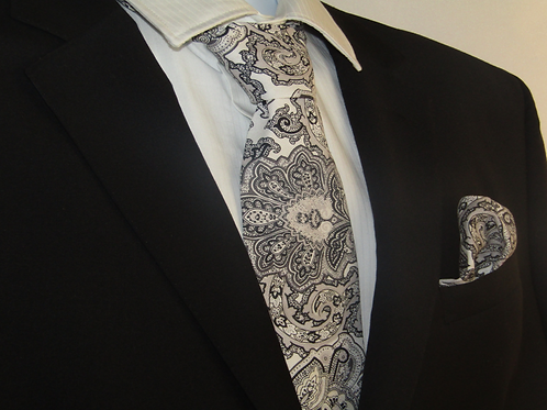 Black & Grey Paisley 2 Piece Necktie Set
