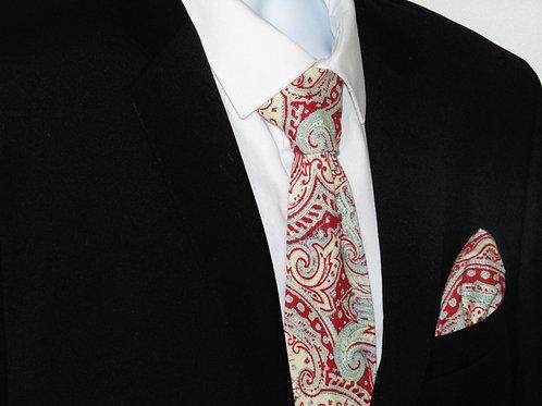 Red Paisley 2 Piece Necktie Set