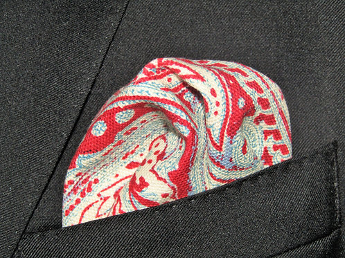 Red Paisley Pocketsquare