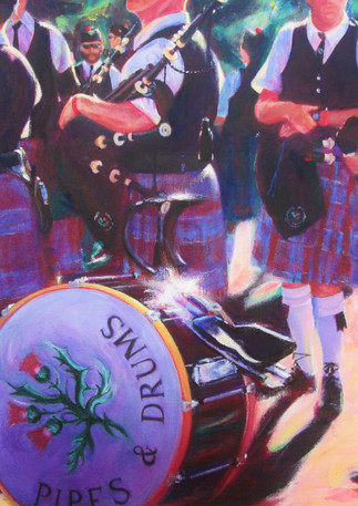 Pipes and Drums - Original Art by Lesley McVicar