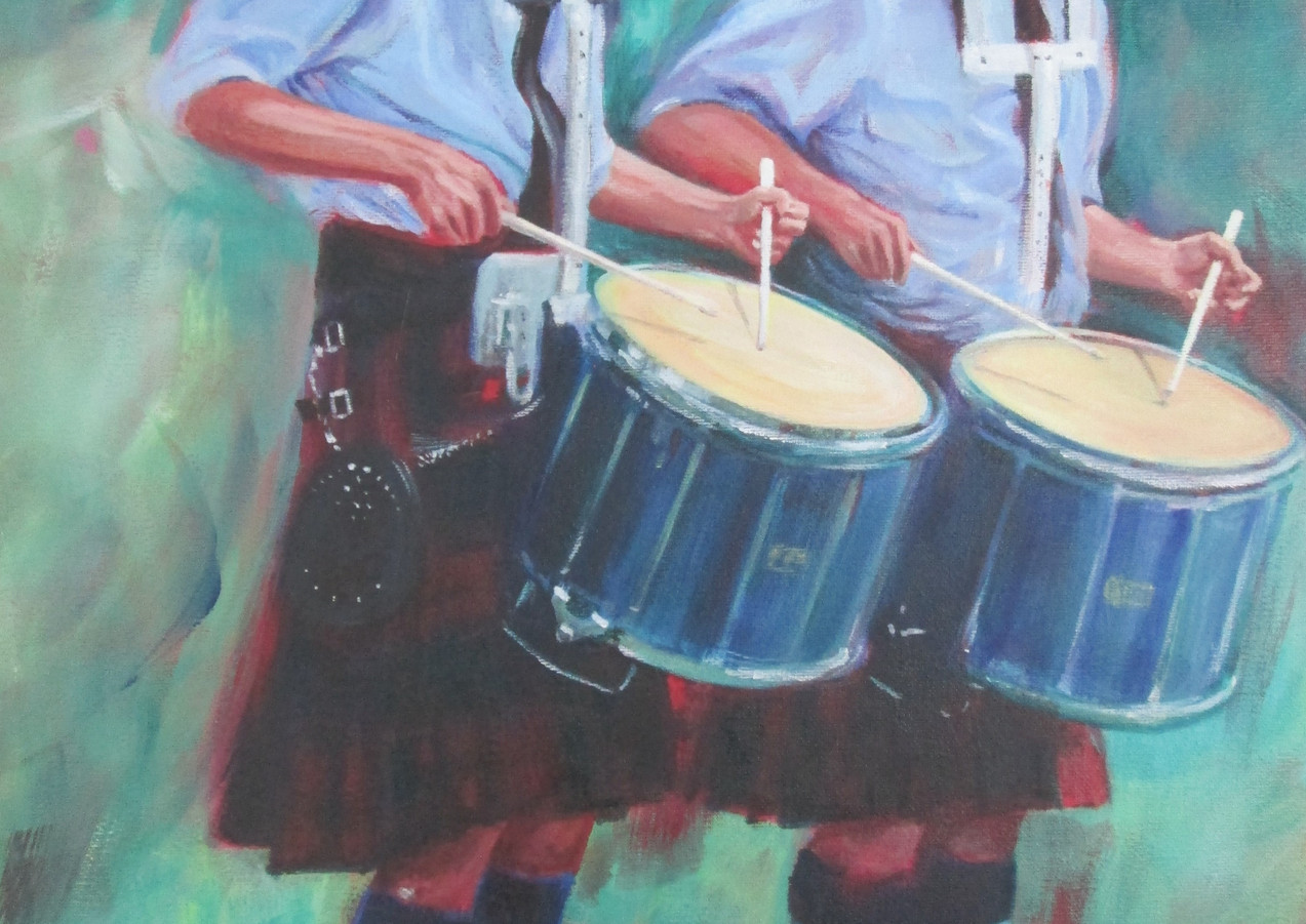 Two Drummers - Original Art by Lesley McVicar