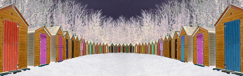 GROUP 1 19 BEACH HUTS IN THE SNOW by Pam Sherren