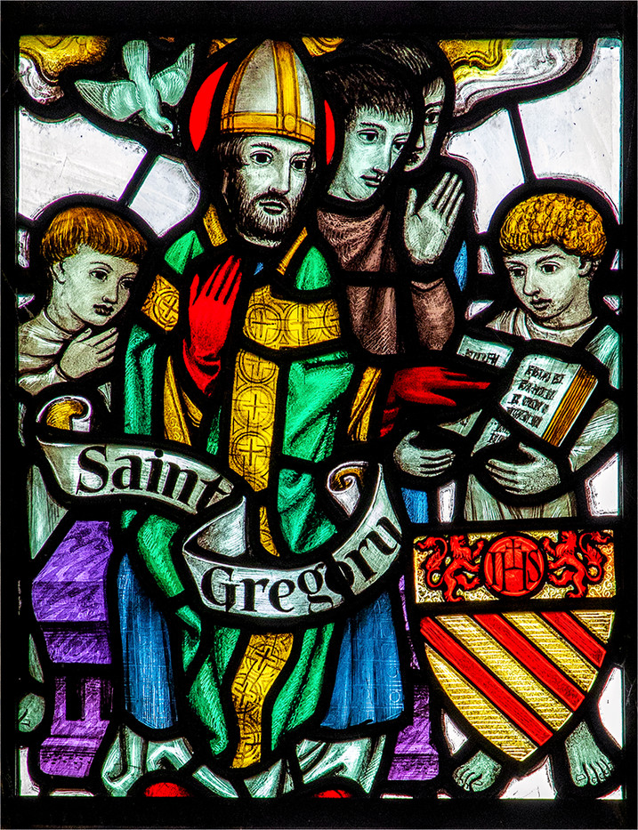 16 PRINT STAINED GLASS PANEL TO THE GLORY OF ST GREGORY GUILDFORD CATHEDRAL by Philip Easom