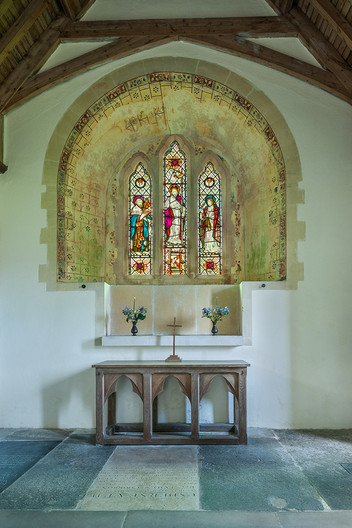 16 MEDIEVAL WINDOW RECESS PAINTING THE  REDUNDANT CHURCH OF ST PETER AD VINCULA COLEMORE HAMPSHIRE by Chris  Rigby
