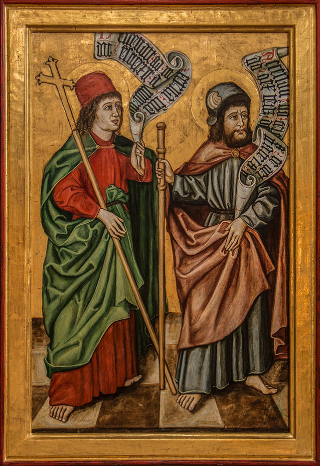 19 PORTRAIT OF BISHOP AND CLERGYMAN, APPROX 24 BY 18 INCHES, SPIS CASTLE CHAPEL by Colin Burgess