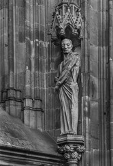 16 STRASBOURG CATHEDRAL SANDSTONE STATUE SHOWING ERROSION AND REPAIRS by David Godfrey