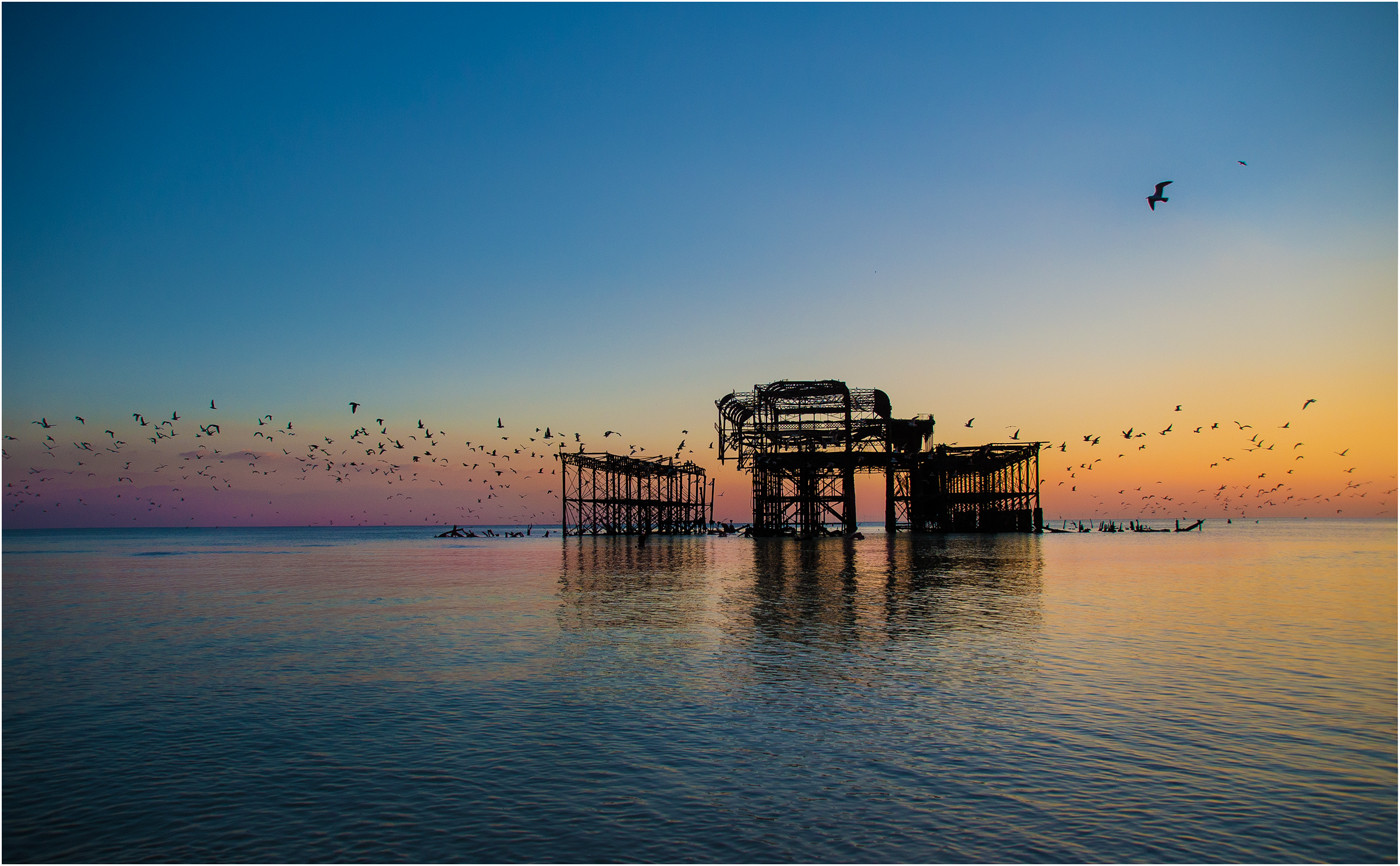 19 AN OLD PIER'S TALE OF BIRDS AND SUNSET COLOURS by Annik Pauwels