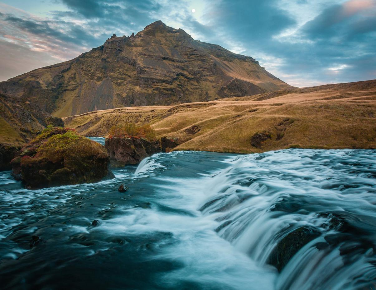 GROUP 2 17 WATERFALL AND MOUNTAIN NEAR SKOGAR by Chelin Miller