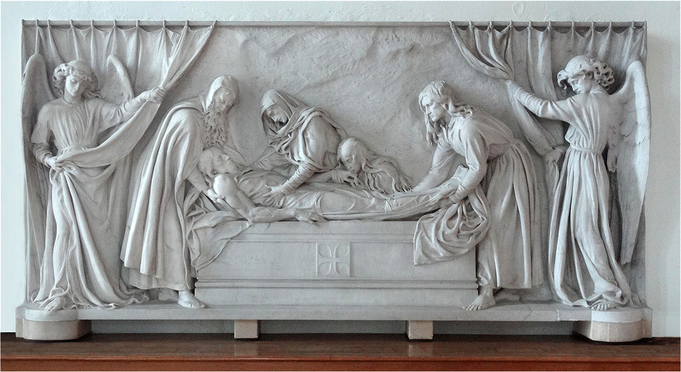 20 A CARVING BY G.E.STREET.MADE FROM A SINGLE BLOCK OF CARRERA MARBLE, SHOWING THE BODY OF CHRIST BEING PLACED IN THE TOMB STLEONARDS CHURCH HYTHE by Brian Whiston