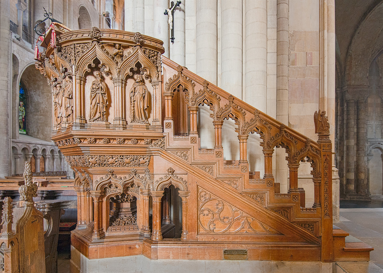 17 CARVED WOOD PULPIT NORWICH CATHEDRAL by Alan Cork