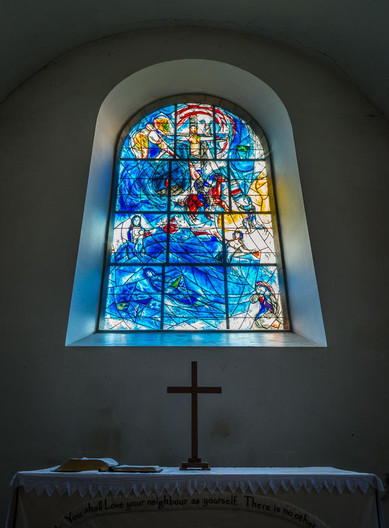 12 CHAGALL WINDOW AT ALL SAINTS CHURCH TUDELEY by Terry Day