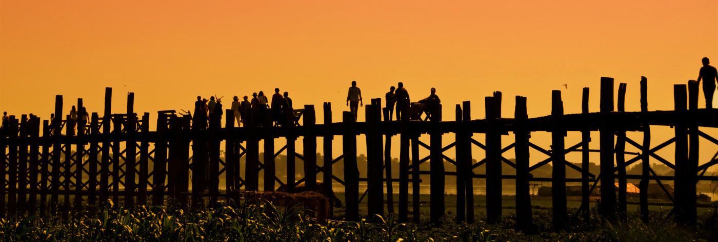 17 THE WOODEN BEIN BRIDGE MANDALAY by Joan Gow