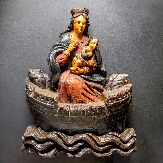 18 OUR LADY OF THE HOLY BLOOD. 17TH CENTURY POLYCHROME OAK AT SAINT FRANCOIS DE SALES CHURCH BOULOGNE by Philip Easom
