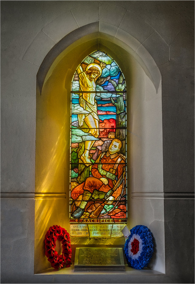 18 WALTER AND ANNIE GALLOWAY'S MEMORIAL WINDOW TO THEIR ONLY BOY MAURICE KILLED IN ACTION 1915 AGED 18 by Colin Hurley