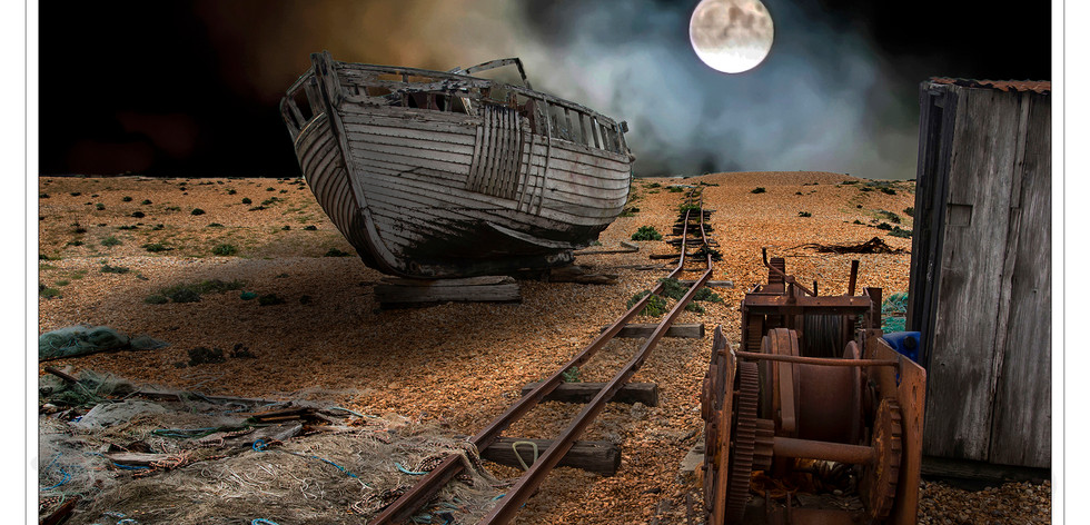 DUNGENESS FICTION MOONSCAPE by Mike Shave