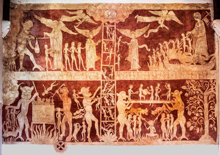 17 PURGATORY LADDER MEDIEVAL WALL PAINTING IN ST PETER AND ST PAUL CHALDON SURREY by Richard Gandon