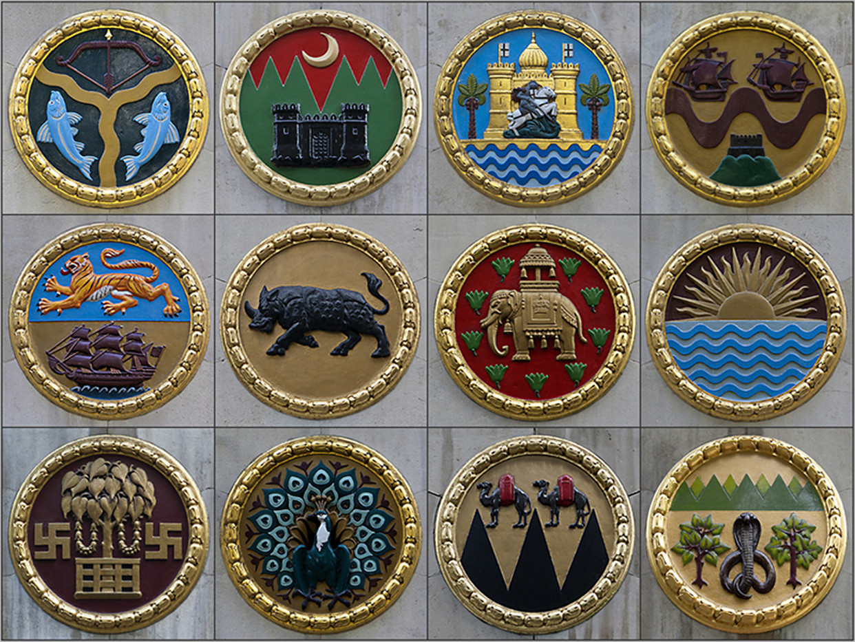 19 MONTAGE OF WALL PLAQUES (EACH ABOUT TWO FEET IN DIAMETER) AT INDIA HOUSE, LONDON by Philip Smithies
