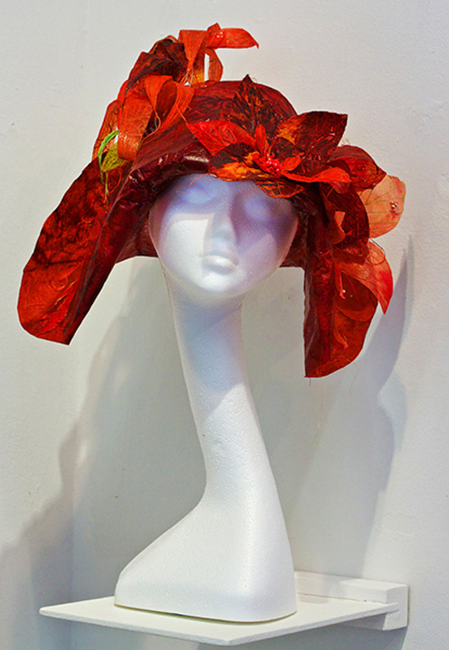 19 HAT MADE FROM PAPER IN AN EXHIBITION IN THE NATIONAL BOTANIC GARDENS OF WALES by John Lewis