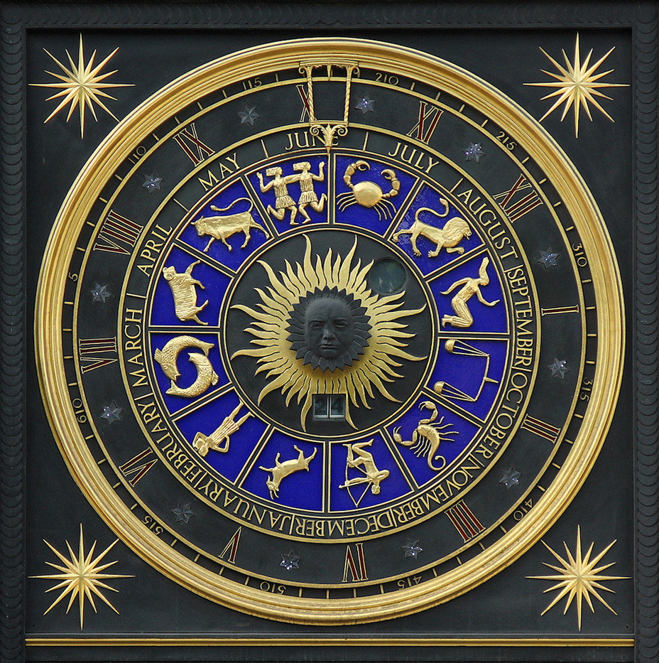 20 ASTROLOGICAL CALENDAR, ABOUT THREE FEET HIGH, ON WALL OF BRACKEN HOUSE, LONDON by Philip Smithies