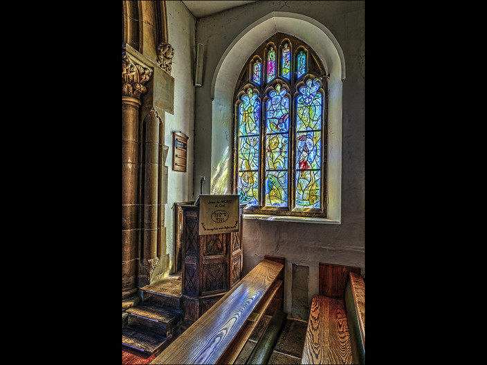 13 PULPIT  & MARC CHAGALL WINDOW - ALL SAINTS CHURCH TUDELEY by Mick Dudley