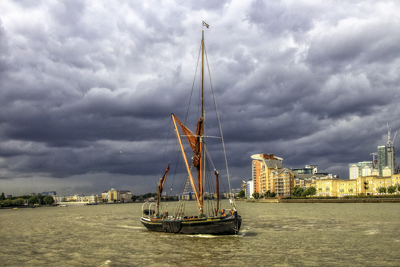 18 THAMES SAILING BARGE LEAVING BEFORE THE STORM by Philip Easom