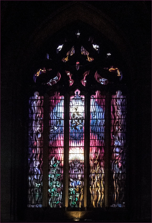 16 LIGHT AND MUSIC STAINED GLASS WINDOW PAISLEY CATHEDRAL by Cathie Agates