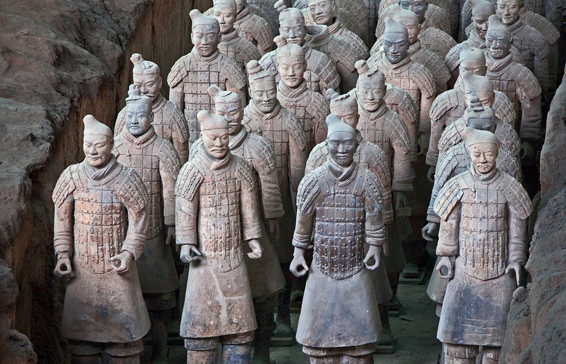 16 TERRA-COTTA ARMY FOOT SOLDIERS by Peter Tulloch