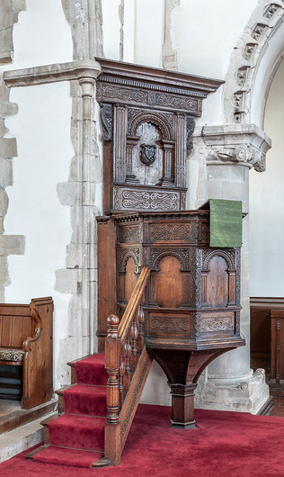 17 EARLY SEVENTEENTH CENTURY PULPIT ST NICHOLAS CHURCH ST NICHOLAS AT WADE by Chris Rigby