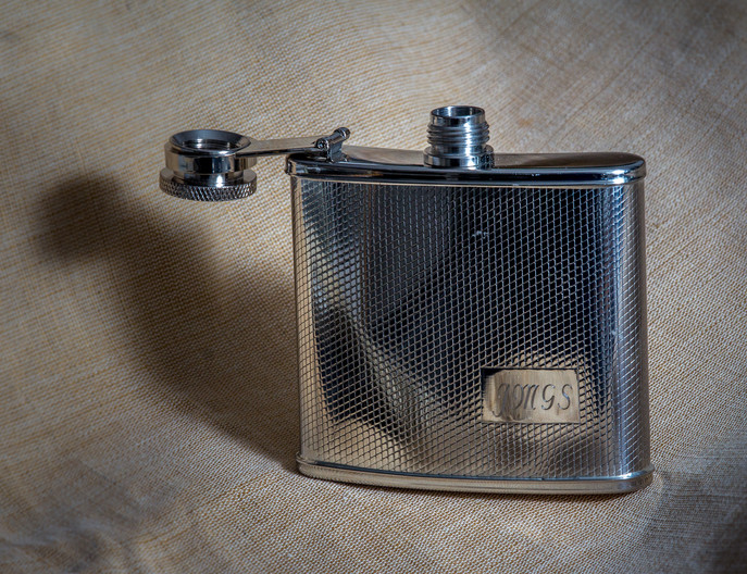 18 CHROMED HIP FLASK- HEIGHT 4 INCHES - CIRCA 1960 by Tony Hill